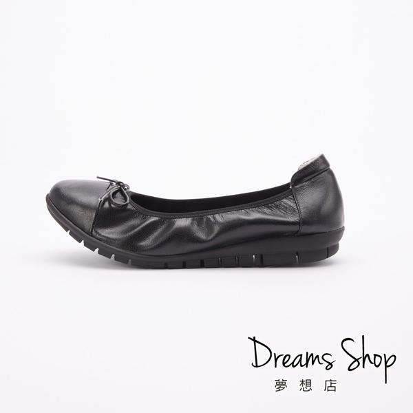 大尺碼女鞋-夢想店-MIT台灣製造加厚支撐蝴蝶結拼接娃娃鞋2.5cm(41-45)【PW225R】黑色