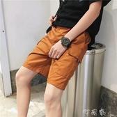 夏季工裝短褲男潮牌寬鬆青少年休閒五分褲直筒學生迷彩中褲男【町目家】