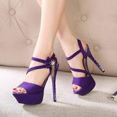 細跟高跟鞋涼鞋春夏季新款防水台蝴蝶結女鞋公主鞋潮