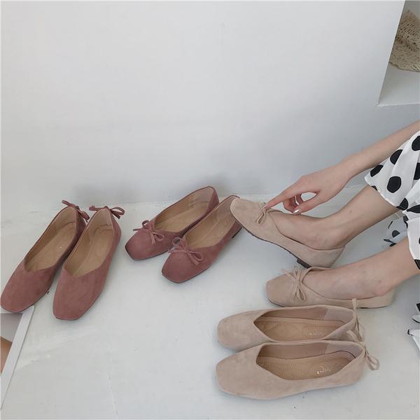 新款韓版百搭 溫柔平底鞋 仙女兩穿豆豆鞋 蝴蝶結單鞋女