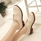 新品紳士鞋秋冬新款復古英倫繫帶圓頭小皮鞋女中跟單鞋粗跟大碼女鞋【新品推薦】
