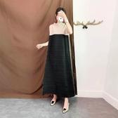 無袖洋裝-皺褶高彈力風琴拼色寬鬆女連身裙3色73yf7【時尚巴黎】