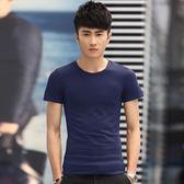 男短袖POLO衫短袖圓領純色t恤男裝修身薄款打底衫《印象精品》t799