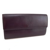 【奢華時尚】LV 紫色EPI麥穗壓紋牛皮10卡發財長夾(八八成新)#24107