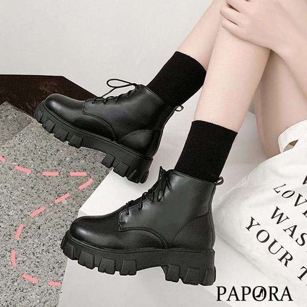 PAPORA厚底增高短筒學生鞋中筒靴短靴KK5003