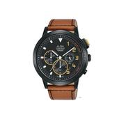 ALBA雅柏 新上市廣告款 帥氣三眼計時皮帶錶 VD53-X340J(AT3F39X1)黑X咖啡