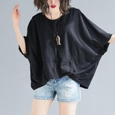 大碼女裝夏季新款純色拼接蝙蝠袖寬松遮肚子上衣顯瘦洋氣棉麻T恤