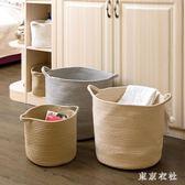洗衣籃 日式超大純色棉線手提籃 可水洗臟衣籃玩具內衣襪收納筐 QQ4621『東京衣社』