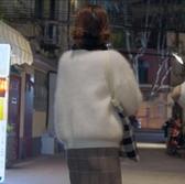 兔毛衫 不負時光安悅溪李校同款白色針織開衫女兔毛長袖寬鬆毛衣外套上衣