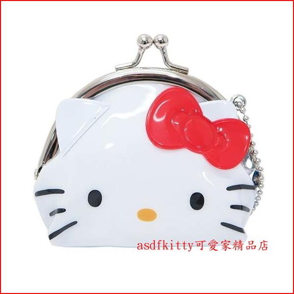 asdfkitty*賠錢特價-KITTY臉型雙珠扣零錢包-防水材質-可當印章袋-日本正版商品