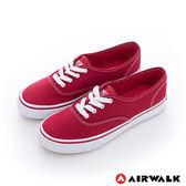美國AIRWALK(女)  小藍標 紅邊經典基本綁帶帆布鞋 -青春紅