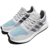 adidas 休閒慢跑鞋 Swift Run 灰 藍 白底 編織鞋面 時尚穿搭 潮流 襪套式 運動鞋 男鞋【PUMP306】 CG4108