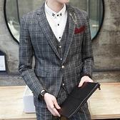 西裝套裝含西裝外套+西裝褲(三件套)-時尚鍊子英倫風造型正式場合男西服73hc81[時尚巴黎]