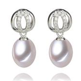 珍珠耳環 925純銀-8-9mm水滴型雙環鑲鑽生日情人節禮物女飾品73lw19[時尚巴黎]