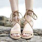 平底休閒女鞋學生韓版百搭涼鞋潮 夏季新款軟妹綁帶羅馬鞋  蜜拉貝爾
