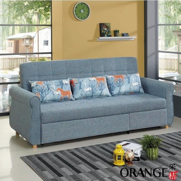 【采桔家居】康斯 現代灰棉麻布三人沙發/沙發床(左&右二向獨立座位設計+拉合式機能設計)