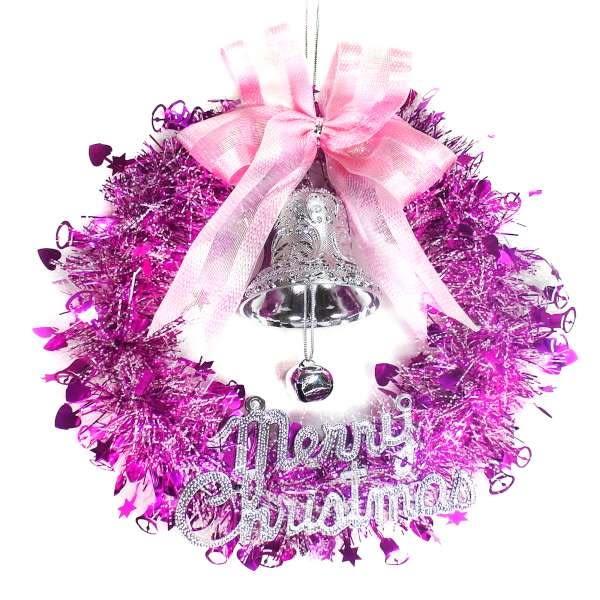 10吋銀紫色歡樂金蔥浪漫雪紗花圈