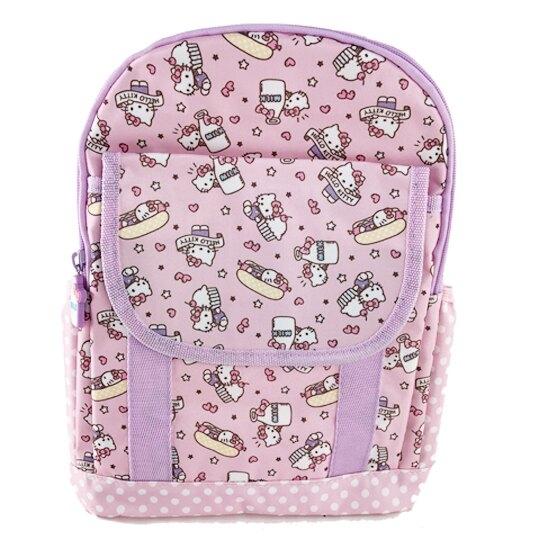 小禮堂 Hello Kitty 後背包 兒童背包 尼龍 掀蓋雙層拉鍊 雙肩包 書包 (粉紫 杯子蛋糕) 4901610-05115