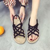 涼鞋女夏季百搭仙女風平底學生時尚復古羅馬鞋潮