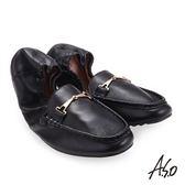 A.S.O 輕履鞋 小羊皮簡約飾釦可折疊穆勒鞋 黑