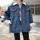 韓版chic秋冬新款復古羊羔毛翻領牛仔加厚外套寬鬆休閒長袖上衣女