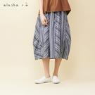 a la sha+a 層次打摺棉麻條紋造...