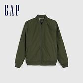 Gap男裝 簡約風格純色開襟棒球領棉服 603992-綠色