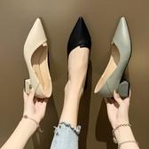 女鞋新款夏季淺口尖頭女士中粗跟單鞋網紅晚晚兩穿黑色高跟鞋 限時熱賣