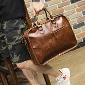 單肩斜背包瘋馬皮男士手提包橫款定型公文包電腦包箱型 可可鞋櫃