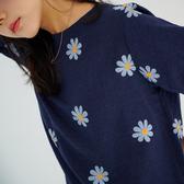 【慢。生活】小雛菊絢帶繡緹花棉上衣 928 FREE深藍色