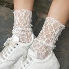 蕾絲襪子 2雙裝蕾絲襪子女正韓復古鏤空透視網格襪日系性感百搭中筒堆堆襪-Ballet朵朵