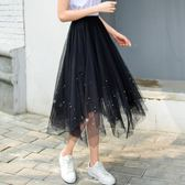 不規則百褶裙半身裙中長款2018新款