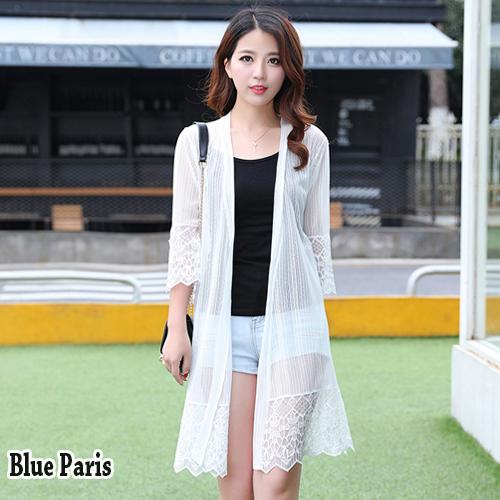 【藍色巴黎】 韓版 透膚開襟七分袖薄款針織網紗外套 長版防曬外套 罩衫 《黑 / 白》【28697】