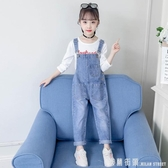 女童吊帶褲套裝秋裝2020新款中大童韓版洋氣寬鬆牛仔時髦兒童褲子