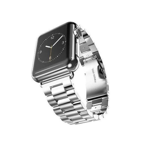 【送錶帶調節器】Apple watch 38/40通用 42/44通用 不銹鋼三珠 錶帶 金屬質感 折疊扣 可拆卸鍊帶