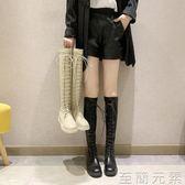 馬丁靴女秋冬新款高筒騎士靴平底膝上靴長筒網紅瘦瘦彈力靴 至簡元素