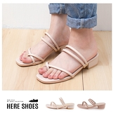 [Here Shoes] 4cm涼鞋 MIT台灣製 優雅氣質套指 皮革方頭粗跟兩穿涼拖鞋-AA936