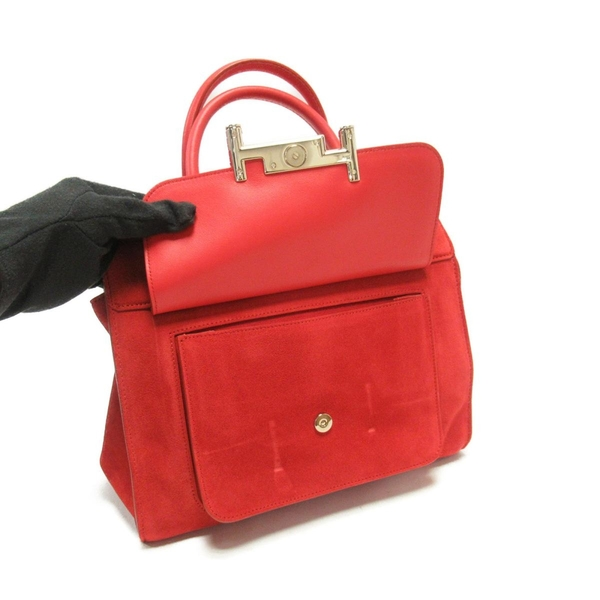 TOD'S 托德斯 Double T系列紅色麂皮手提肩背兩用方包  【二手名牌BRAND OFF】