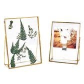 北歐金色金屬創意幾何植物標本相框擺台立體照片現代簡約畫框67寸   LannaS