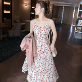 碎花洋裝 碎花吊帶連身裙女2020新款夏季時尚A字裙韓版時髦中長裙修身流行完美