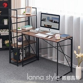 可折疊辦公電腦桌組合書桌書架置物架落地簡約現代書櫃桌子 全館新品85折