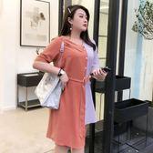 法式拼接復古裙2019新款大碼女裝遮肚子顯瘦連身裙夏