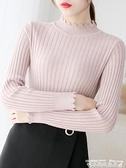 針織打底衫半高領毛衣女秋冬新款洋氣打底衫內搭修身百搭黑色白色針織衫 衣間迷你屋 交換禮物