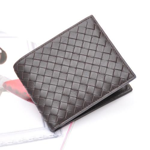 【Miyo皮夾】巴黎時尚風羊皮編織中性短夾(咖啡色)