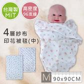 台灣製紗布浴巾(中)90*90 高96支線 高密度 新生兒印花紗布被毯 浴巾 抱毯 嬰兒包巾 【JA0030】