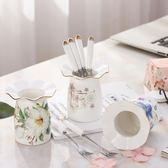 創意家用可愛卡通小叉陶瓷不銹鋼水果叉果簽點心叉甜品叉套   LannaS