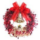 【摩達客】10吋紅色歡樂金蔥浪漫雪紗花圈