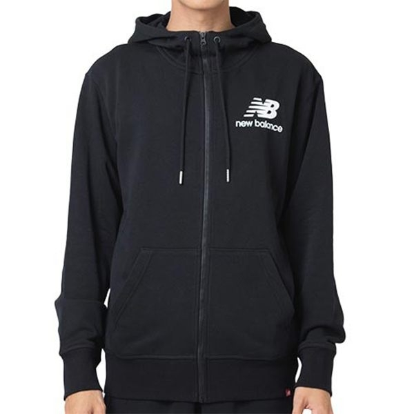 NEW BALANCE 黑 小LOGO 連帽外套 黑 拼接 拉鍊 男(布魯克林) AMJ91549BK