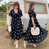 YOYO 中大尺碼波點V領洋裝連身裙 內搭裹胸大擺裙(XL-3L)AH1050