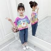 女童短袖T恤新款夏裝彩色條紋圓領體恤洋氣女孩卡通印花上衣 米希美衣